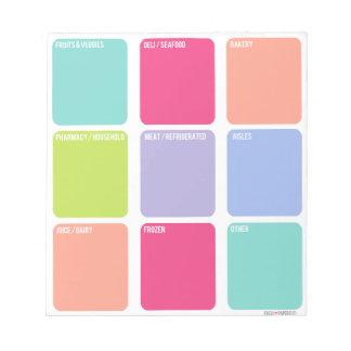 Cuaderno de notas de la lista de compras bloc