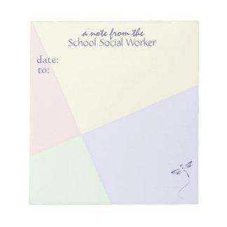 Cuaderno de notas del asistente social de la escue bloc de notas