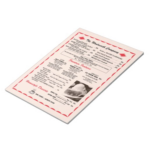 Cuaderno de notas del menú de Woolworth Bloc