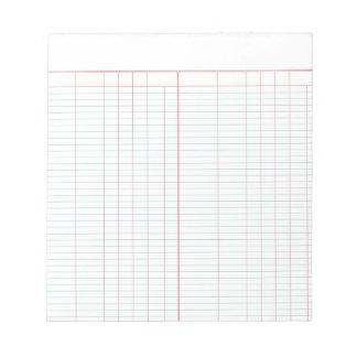 Cuaderno de notas del papel de libro mayor bloc de notas