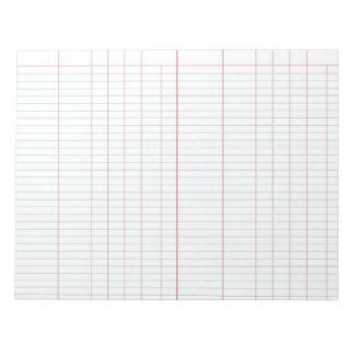 Cuaderno de notas del papel de libro mayor blocs de papel