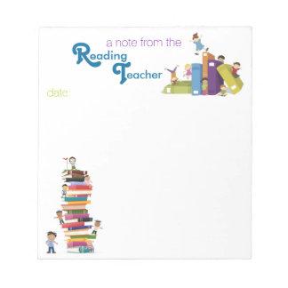 Cuaderno de notas del profesor de lectura bloc de papel