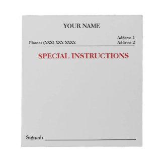 Cuaderno de notas del resbalón de las instruccione libreta para notas