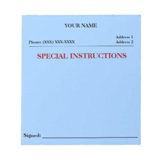 Cuaderno de notas del resbalón de las instruccione blocs