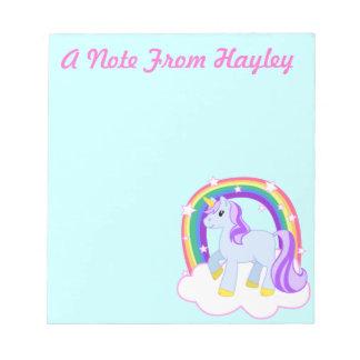 Cuaderno de notas lindo personalizado del unicorni