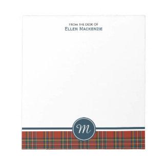 Cuaderno de notas real del monograma del tartán de libretas para notas