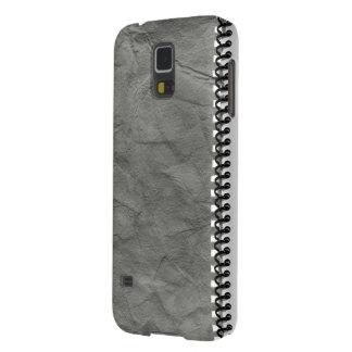 cuaderno de papel viejo con el caso espiral del iP Funda De Galaxy S5