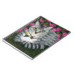 Cuaderno de plata del arte del gato del jardín del