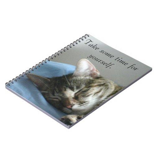 Cuaderno de reclinación del gato de Tabby