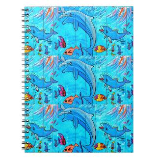 cuaderno de risa del azul de los delfínes