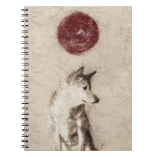 Cuaderno de Shiba Inu del sol naciente