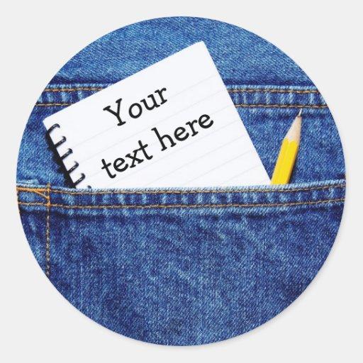 """Cuaderno de """"su texto aquí"""" en bolsillo etiquetas"""