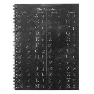 Cuaderno del alfabeto de la pizarra del vintage de