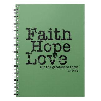 Cuaderno del amor de la esperanza de la fe del vin