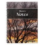 Cuaderno del árbol de la puesta del sol