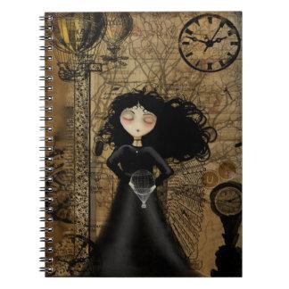 Cuaderno del arte de Steampunk con el chica del gó