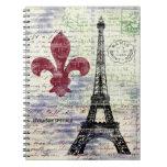 Cuaderno del arte del vintage de la torre Eiffel