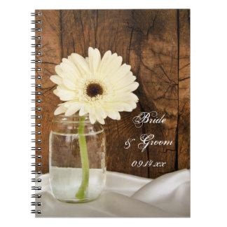 Cuaderno del boda del país del tarro de albañil y