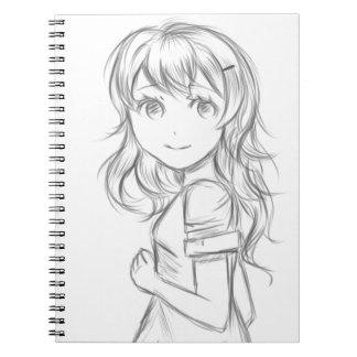 Cuaderno del bosquejo del chica del animado