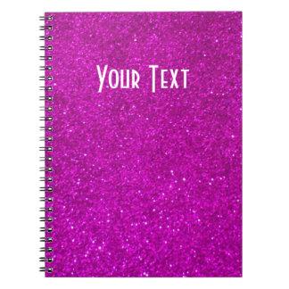 Cuaderno del brillo con falsas luces tenues rosada