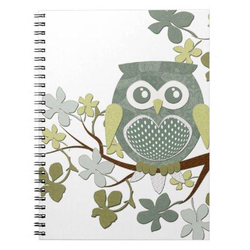 Cuaderno del búho del árbol de la polca