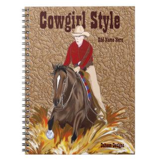 Cuaderno del caballo del estilo de la vaquera que