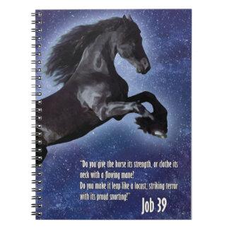 Cuaderno del caballo del verso de la biblia