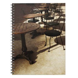 cuaderno del café del vintage