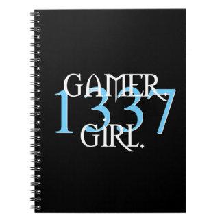 """""""Cuaderno del chica 1337 del videojugador"""" (azul) Notebook"""