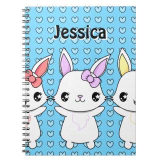 Cuaderno del conejito del dibujo animado de Kawaii