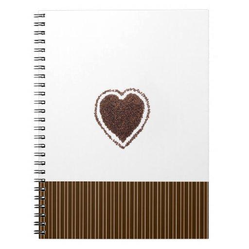 Cuaderno del corazón de los granos de café