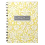 Cuaderno del damasco del blanco gris del limón del