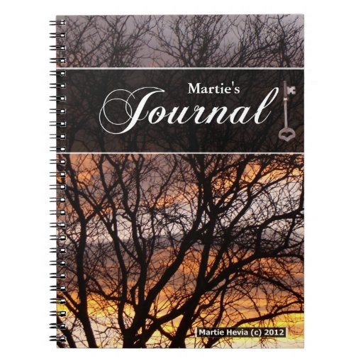 Cuaderno del diario - árbol de la puesta del sol