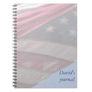 cuaderno del diario de la bandera de los E.E.U.U.