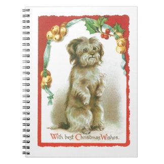 Cuaderno del diario de la tarjeta de Navidad del v