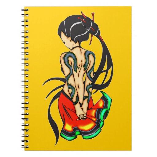 Cuaderno del diario del dibujo animado del chica d