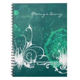 Cuaderno del diario del Grunge del verde azul