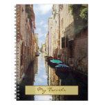 Cuaderno del diario del viaje de Venecia Italia