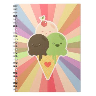Cuaderno del dibujo animado del helado de Kawaii