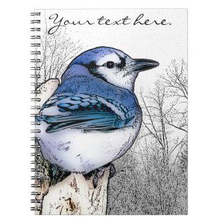 Cuaderno del dibujo del arrendajo azul