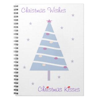 Cuaderno del diseño del árbol de navidad plantill