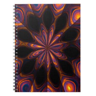 Cuaderno del diseño gráfico de la puesta del sol