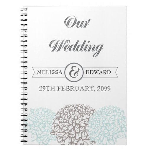 Cuaderno del espiral del boda del Zinnia de la agu