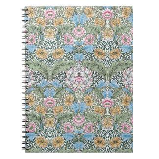 Cuaderno del estampado de flores de William Morris