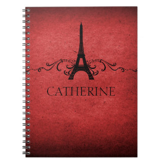 Cuaderno del Flourish del francés del vintage, roj