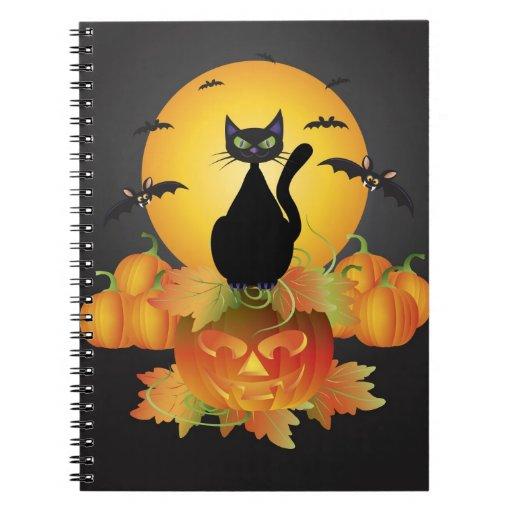 Cuaderno del gato negro de Halloween