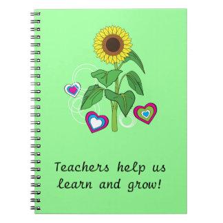 Cuaderno del girasol del regalo de los profesores