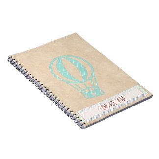 Cuaderno del globo del aire caliente del verde del