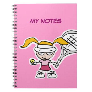Cuaderno del jugador de tenis con la cubierta