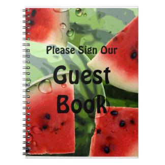 Cuaderno del libro de visitas de la comida